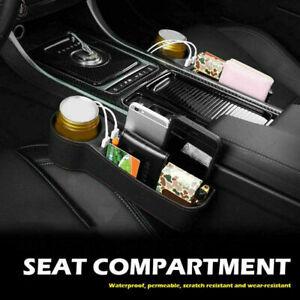 Car Accessories Seat Slit Left  Side Pocket Storage Organizer Box w/2 USB Port