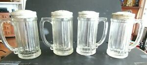 4 ANTIQUE CAFE COOKS RANGE TOP GLASS SHAKERS  WITH HANDLES PANELS AS IS