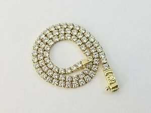 "Women Diamond Look Tennis Bracelet Real 10k Yellow Gold  2mm 7.5"""