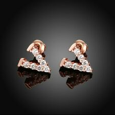 NEW ARRIVAL ROSE GOLD PLATED CRYSTAL STUD EARRING WITH V SHAPED DESIGN