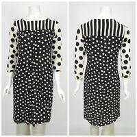 Womens Gudrun Sjoden Dress Tunic 3/4 Sleeve Black Beige Polka Dot Modal Size S