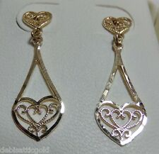 14K Yellow Gold Filigree Dangle Heart Earrings Post Gorgeous Ladie's Valentine's