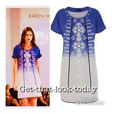 Karen Millen Blogger Paintery Embroiled  Silk T Shirt Dress Top Tunic 10 Uk £215