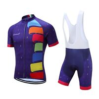 Purple Breathable Cycling Clothing Shorts Sleeve Sports Cycling Jersey Bib Set