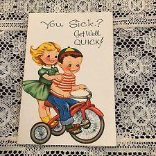 Vintage Greeting Card Get Well Kids On Tricycle Bike