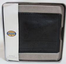 Men's FOSSIL Black Leather DARREN BiFold Wallet  SML1380001