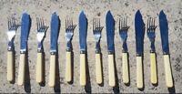 Set 6 vintage faux bone ivorine handle cutlery fish knives and forks John Watts
