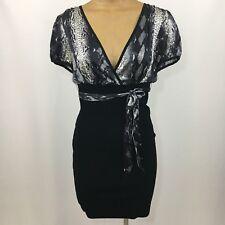 Bebe Large Womens Dress Satin Spandex Stretch Black Snakeskin Gray Bandage Belt