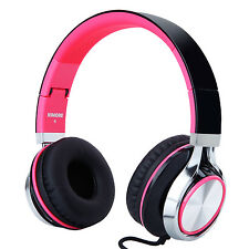 RockPapa Foldable Adjustable Girls Women Headphones Mic for iPad MP3 iPhone Pink