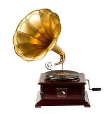 Grammophon mit Trompete HIS MASTER'S VOICE in Holz und Messing funktioniert
