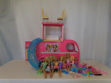Barbie Pop Up Popup Camper 3 Levels Pink RV Bus Home Van Truck Set + Doll + Acce