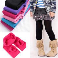3-12Y Children Kids Girls Plain Cotton Thick Full Length Leggings Party Pants