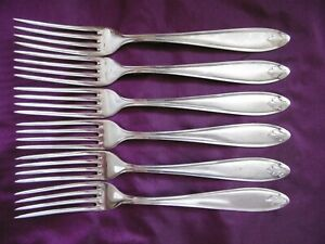 LOVELY ANTIQUE SET OF 6 WMF 90 SILVER PLATED DINNER FORKS SET 2
