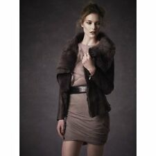 $1300 MUUBAA DRAPE GENUINE SHEEP Shearling Jacket Black LAMSKIN  4 US 8 UK 36 EU
