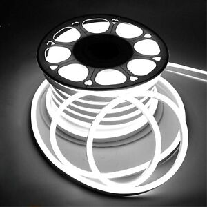 LED Neon Flex Cool White 220V 240V 8x16 IP67 Waterproof Outdoor Use with UK Plug
