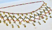 ART DECO FLAPPER BIB FESTOON NECKLACE GLASS BEADS BRASS HEARTS RED WHITE BLACK