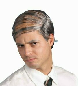 Funny BALD MAN'S COMB OVER WIG Fake Gray Hair Old Grandpa Nerd Costume Joke Gag