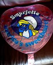 "New Vintage 1983 Smurfette ""America's Sweetheart"" Pink Heart Shaped 17"" Balloon"
