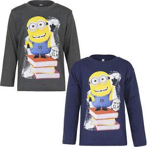 New Long Sleeve Shirt Boys Minions Pullover Blue Braun 104-110 116-122 128-134#