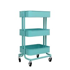ALEKO Lightweight Carbon Steel 3-Tier Rolling Utility Trolley Cart - Light Blue