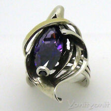 Ring Beautiful 925 Sterling Silver 14K Yellow Gold Purple Zircon Size 7 Grace