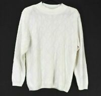 Alfred Dunner Women's Small Long Sleeve Made in USA High Neck Sweater White
