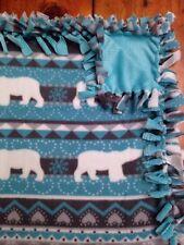 Handmade Fleece Tie-Blanket Super Soft Minky Polar Bears Snowflake Winter 60x48