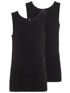 NAME IT Jungen 2er Pack Unterhemden Set schwarz Größe 110/116 bis 158/164