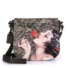 ICON Leather Alberto Vargas Black Olive Pin Up Girl Crossbody Art Bag Mult NEW