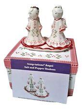 Temptations By Tara Salt & Pepper Shaker Set Christmas Peppermint Angel NEW BOX