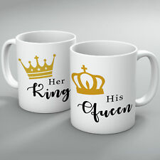 Her King & His Queen Mugs Couple, Mugs Gift Valentines Couple Romantic