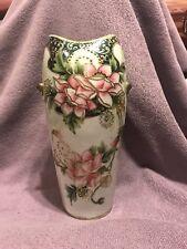 Nippon Moriage Vase Pink Flowers