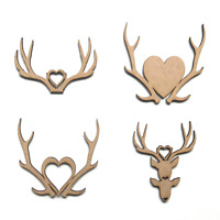 Wooden MDF Stag Heads Antlers Love Stags Craft Shapes Embellishments Decoration