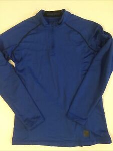 Nike Men's Pro Fitted Pullover Size Large Royal Blue 1/4 Zip Long Sleeve Dri-Fit