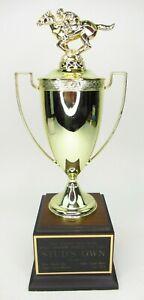 """Vintage 15"""" Metal Horse Racing Trophy Penn National Sophomores Breeders Cup"""