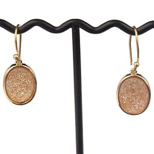 Yellow Gold Color Titanium Coated Drusy Yellow Gold Plated Women's Drop Earrings