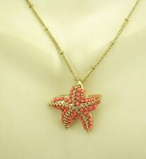 "Joan Rivers Seed Bead Star Fish Necklace  16"" 3"" ext. Star Fish is  1"""