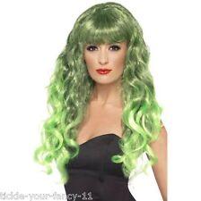 Femmes filles vert sirène perruques années 80 glamour fancy dress costume perruque wonder woman