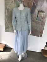 Vintage Pale Blue Beaded Maxi Long Skirt Set (A13) Size Large
