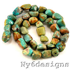 "*9-13mm Natural Green Hubei Turquoise Nugget Beads 15""(TU657)b"