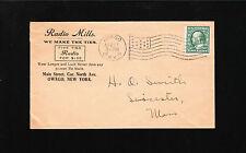 Radio Mills Ties Owego NY Flag 1911 HQ Smith Liecester MA Cover & Letterhead ö