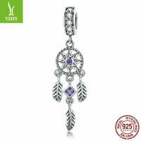 European Women Authentic 925 Sterling Silver Feather Charm Pendant Fit Bracelet