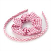 Gingham Check Alice Band & Scrunchie Set Hair Band Headband Pink Navy Blue Red