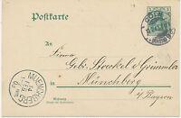 "DT.REICH ""CÖLN (RHEIN) / 9"" (KÖLN) K1 a. 5 Pf Germania Kab.-GA-Postkarte1903"