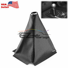 Shift Knob Shifter Boot Cover Black W/ Black Stitches Carbon Fiber Leather Look
