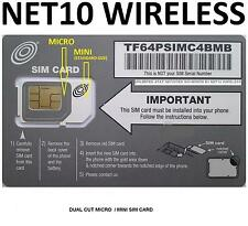 * NET10 DUAL MICRO MINI SIM CARD AT&T Compatible