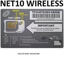 * NET10 DUAL MICRO MINI SIM CARD AT&T Compatible