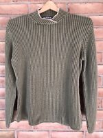 Woolrich Sweater Women's Size Large Mock Neck Green Long Sleeve Ribbed Cotton