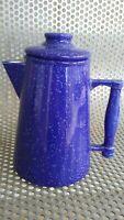Vintage Blue Ceramic Coffee Campfire Tea Pot Kettle