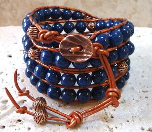 Big 8mm Lapis and Copper Gemstone Handmade Beaded Leather 4 Wrap Bracelet